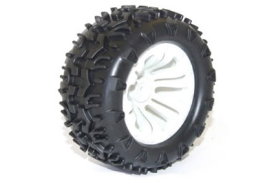 FTX Carnage Mounted Wheels/Tyres - White (2) FTX6310W