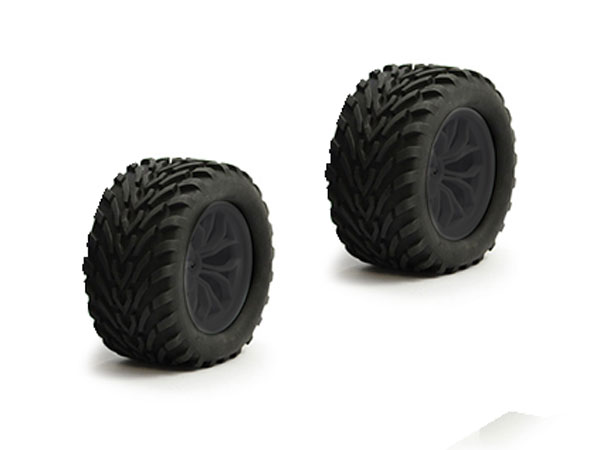 Fastrax 1/10 Mega-V Truck Tyre Mounted on Black 12-Spoke (12mm Hex) FAST0067B