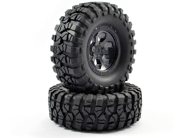 FTX OutBack Pre-Mounted 6 Hex/ Tyres (2) - Black FTX8170B