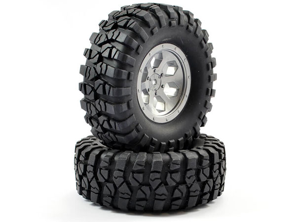 FTX OutBack Pre-Mounted 6 Hex/ Tyres (2) - Grey FTX8170G