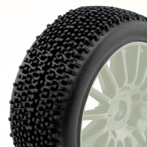 HobbyTech ROCKET - 1/8th Pre-glued buggy tyres on white spoked wheels (BX8-SL, Spirit Evo or NXT EP) HT-443