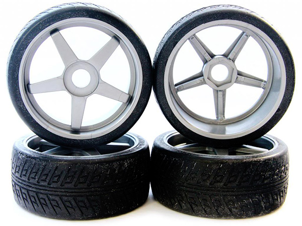 Kyosho On Road Tyres Pre-Mounted on Inferno GT Silver Wheels x 4 IGTH002S