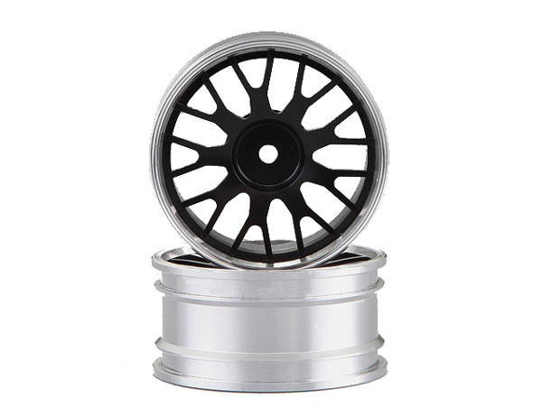 Killer Body Alloy Rims 1/10 Touring Car Y-Design (Black/ Silver) KB48489BLK