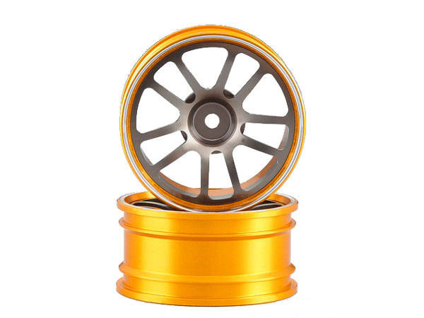 Killer Body Alloy Rims 1/10 Touring Car V-Design (grey/ Gold) KB48490SIGY