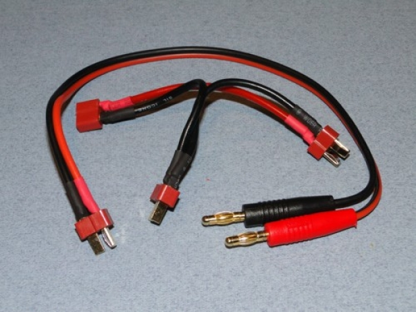 Logic RC Charge Lead 4mm To Twin Deans Male O-LGL-CLDNST