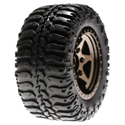 Losi Mini Desert Mounted Black Chrome Truck Rear Wheels And Tyres (2) LOSB1080