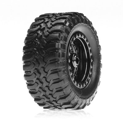 Losi Micro Desert Truck Standard Tyres Mounted on Chrome Wheels (4) LOSB1572