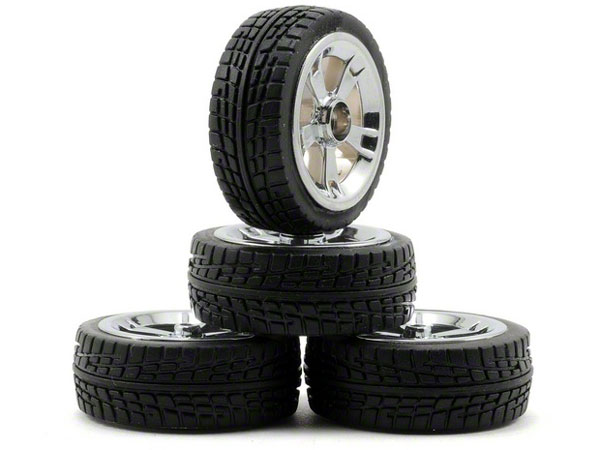 Losi Micro 22 On-Road Tire Set, Chrome, Mounted (4) LOSB1575