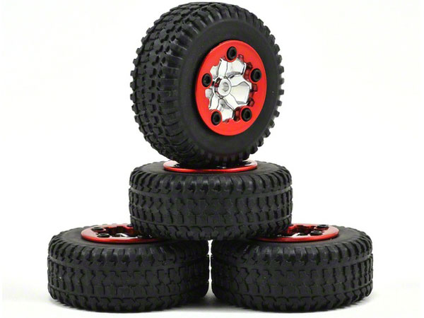 Losi Wheels Tyres Mounted Chrome Micro SCT(4) LOSB1583
