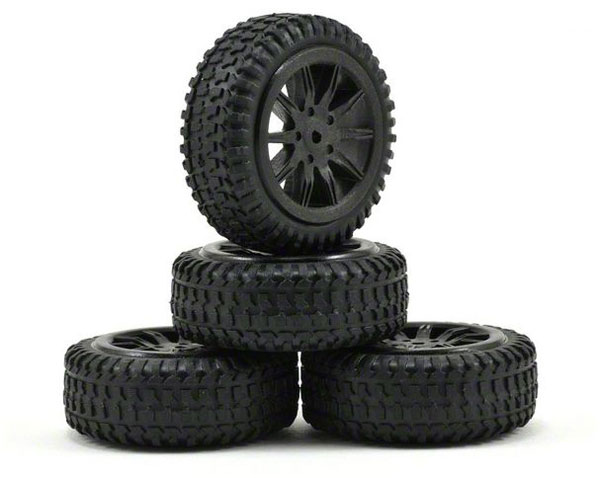Losi Micro Rally Tyres Mounted on Black Wheels LOSB1584