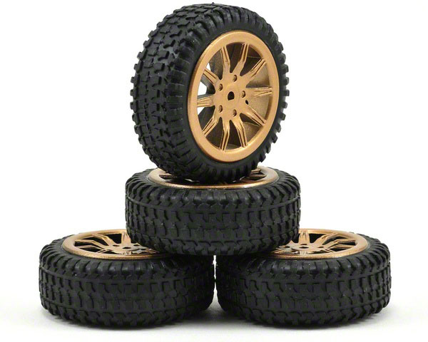 Losi Micro Rally Tyres Mounted on Gold Wheels LOSB1586