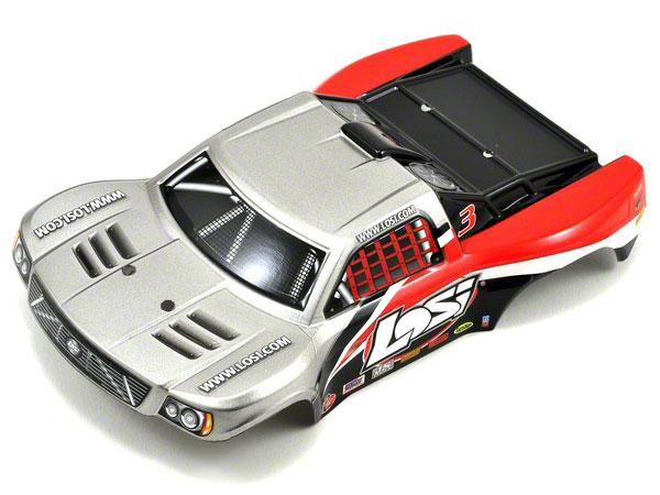 Losi 1/24 4WD Short Course Painted Body - Silver & Red LOSB1783