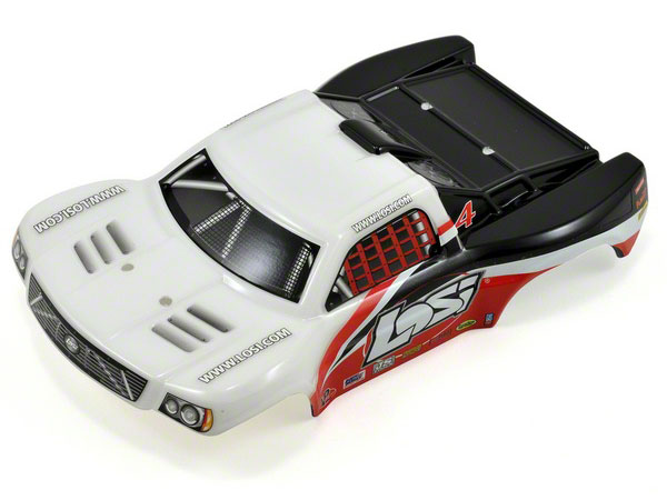 Losi 1/24 4WD Short Course Painted Body - White & Red LOSB1784
