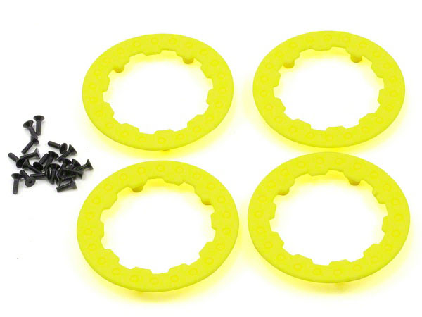 Losi XX-SCT 10-SCTE 4 Fluorescent Yellow Beadlock Ring Wheels with Screws LOSB7024