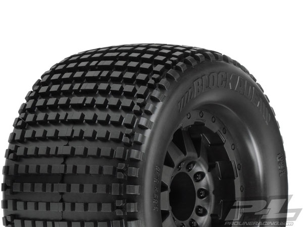 Pro-Line Blockade 3.8 (Traxxas Style Bead) Mounted on F-11 Black 1/2 Offset Wheels PL10109-13