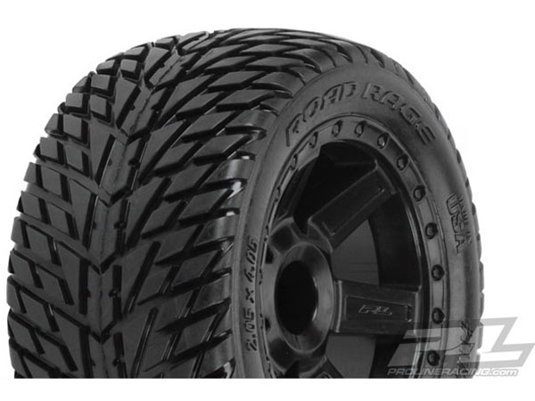 Pro-Line Road Rage 2.8 (Traxxas Style Bead) Street Truck Tires Mounted on Desperado Black Wheels  PL1172-12