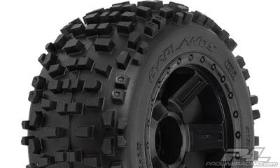 Pro-Line Badlands 3.8 Tyres Mounted on Desperado Black 1/2 Offset 17mm Wheels (2) PL1178-11