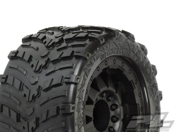 Pro-Line Shockwave 3.8'' (Traxxas Style Bead) All Terrain Tyres Mounted on F-11 Black 1/2 Offset 17mm Wheels PL1193-13
