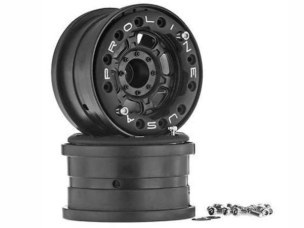 Pro-Line Titus 2.2 Bead-Loc Wheels For 1:10 & Scale 12mm Crawler Hex (2) W/o Weights - Black/Black PL2713-15
