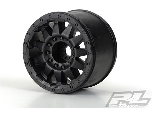 Pro-Line F-11 3.8 (Traxxas Style Bead) Black 1/2in Offset 17mm Wheels For MT F/R PL2742-03