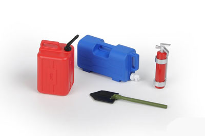 Pro-Line Water Jug, Fuel Can, Fire Extinguisher, Trench Shovel - Crawlers & Monster Truck PL6075-00