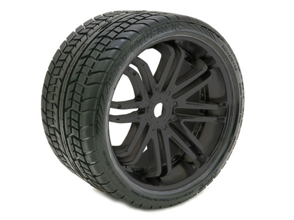 Sweep Road Crusher Belted Tyre Black 17mm Wheels 1/4 Offset  (pr)  SRC0001B