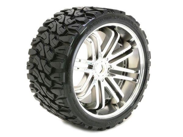 Sweep Terrain Crusher Belted Tyre Silver 17mm Wheels 1/4 Offset (pr)  SRC0002S