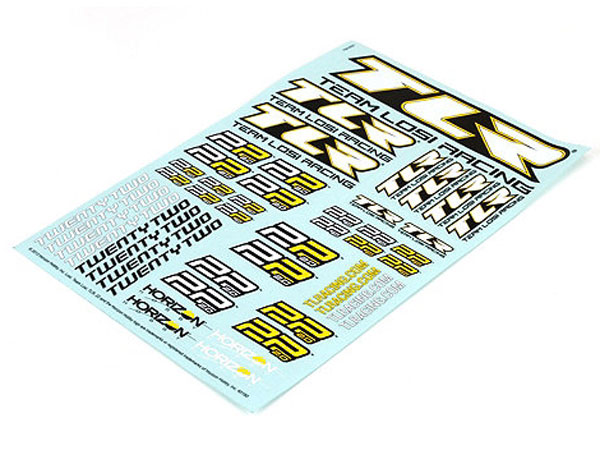 Team Losi Racing 22/22 2.0 Sticker Sheet TLR239002