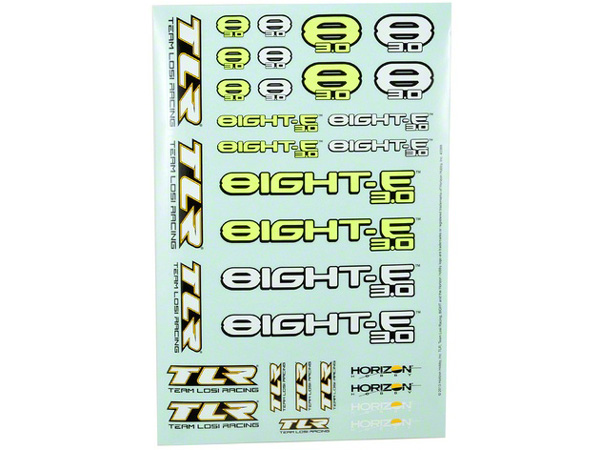Team Losi Racing 8ight-E 3.0 Sticker Sheet TLR249001