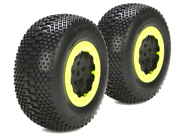 Team Losi Racing 22SCT RTC White Mounted Tyre and Liners (2) TLR43001
