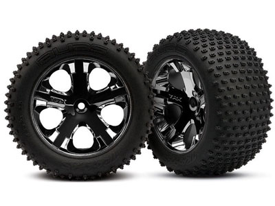 Traxxas Alias Tyres and Wheels - Assembled Rear - Black Chrome 3770A
