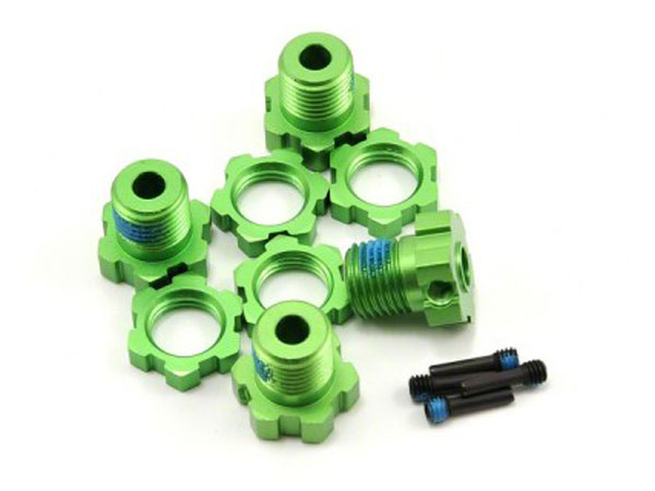 Traxxas Wheel Hubs And Nuts Splined 17mm Green-Anodized (4) 5353G