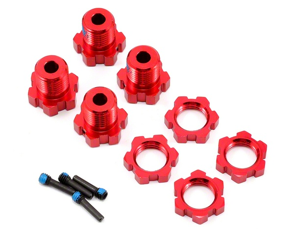 Traxxas Wheel Hubs And Nuts Splined 17mm Red-Anodized (4) 5353R