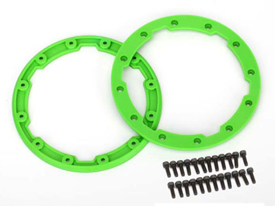 Traxxas Sidewall Protector, Beadlock Style (Green) (2) 2.5x8mm CS (24) (For Use With Geode Wheels) 5664