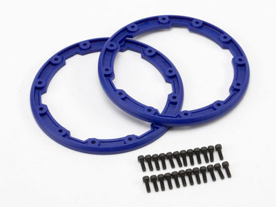 Traxxas Sidewall Protector, Beadlock Style (Blue) (2) 2.5x8mm CS (24) (For Use With Geode Wheels) 5666