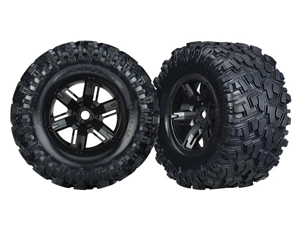 Traxxas Wheels and Tyres (Black Wheels and AT Tyres) (2) 7772