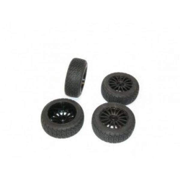 Image Of Kyosho Rally Tyre on Black 15 Spoke Wheels (DRX) x 4