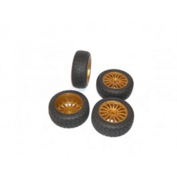 Image Of Kyosho Rally Tyre on Gold 15 Spoke Wheels (DRX) x 4