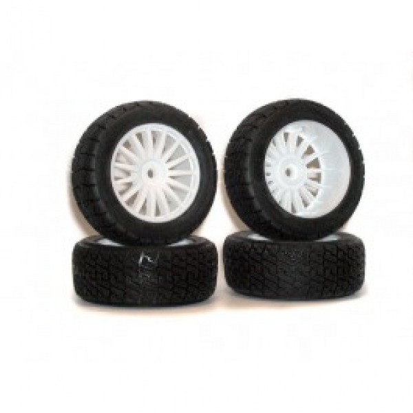 Image Of Kyosho Rally Tyre on White 15 Spoke Wheels (DRX) x 4