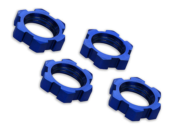 Traxxas 17mm Splined Wheels Nuts - Blue Anodized (4) 7758