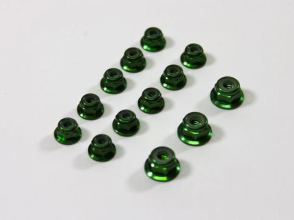 Image Of Team C Aluminium Nut Set Green (13) 1:8 Comp.