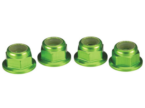 Image Of Traxxas 4mm Flanged Nylon Locking Nuts Green