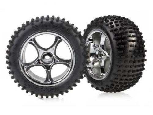Traxxas Bandit Chrome Rear Wheel And Tyre Set Glued 2470R