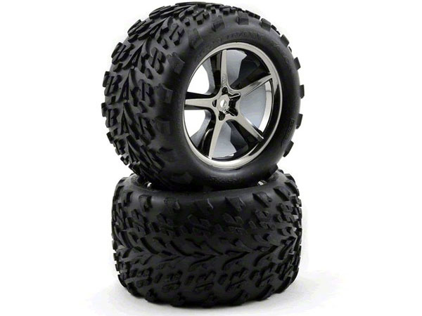 Traxxas Tires/Wheels Gemini Black Chrome E-Revo (2) 14mm Hex 5374A