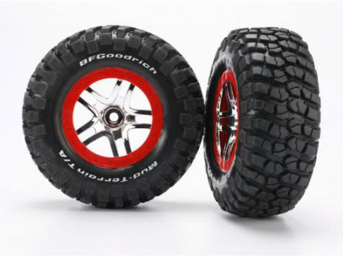 Traxxas Tires And Wheels, Assembled (SCT Split-Spoke, Chrome/Red) S1 6873R