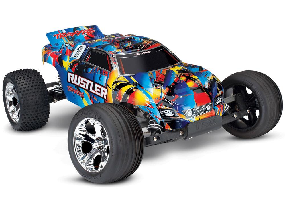 Traxxas 37054-4 Rustler RTR 1//10 Stadium Truck + 5800mAh LiPo Lader 12T+XL-5