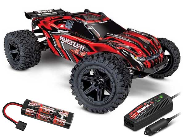 Traxxas Rustler 4x4 XL-5  Power Bundle (Red) TRX67064-1-RED