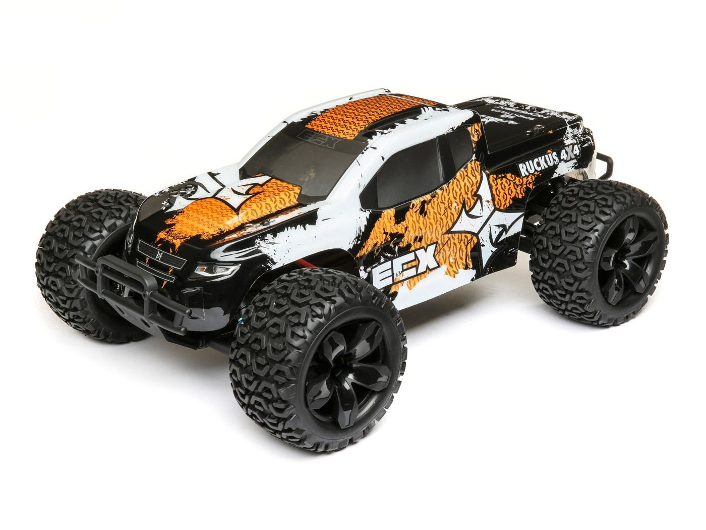 ECX 1/10 4WD Ruckus Brushed Orange/White RTR ECX03242T1