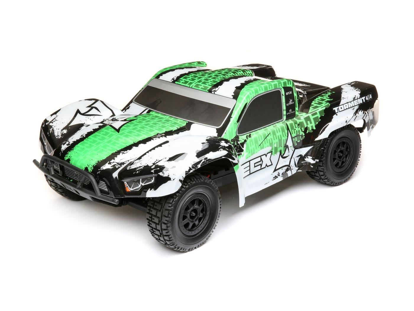 ECX 1/10 4WD Torment Brushed White/Green RTR ECX03243T2