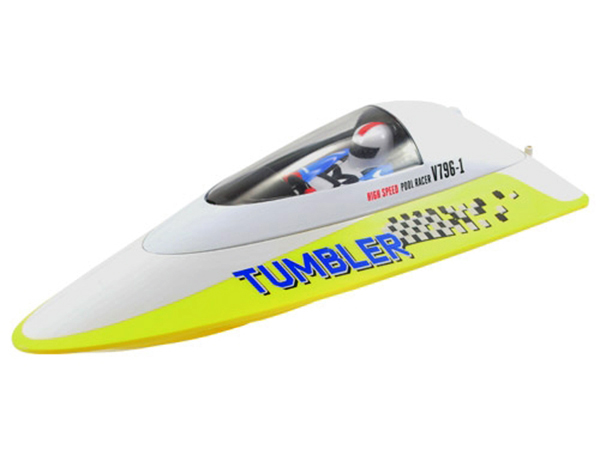 Volantex RC Tumbler RTR Mini Racing Boat - Yellow and White V796-1Y-OLD